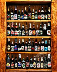 beer bottles shelf