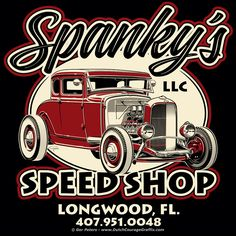 """Spanky's Speed Shop"" logo #spanky #Ford #modelA #coupe #logo #artwork"