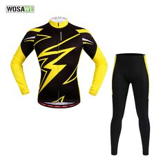 WOSAWE Spring Summer Men's Long Sleeve Cycling Jersey Sets Breathable 4D Padded Bicycle Sportswear Cycling Clothings Yellow * AliExpress Affiliate's buyable pin. Find similar products on www.aliexpress.com by clicking the VISIT button