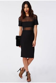 Wear the season's hottest trend – mesh with this chic black midi dress. With stretch crepe fabric, cropped sleeves and fierce mesh panel detailing to the top and waist this dress is a real show stopper. Team this beaut with strappy heel...