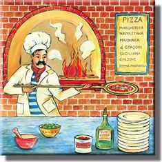 Pizza Maker Shop Picture on Stretched Canvas, Wall Art Decor, Ready to – ArtWorks Decor Co. Pizza Poster, Pizza Maker, Arte Country, Poster Prints, Art Prints, Cool Posters, Wall Art Decor, Illustration, Images