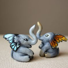 They're multiplying figurines Elephant Love, Elephant Art, Elephant Nursery, Elephant Stuff, Elephant Jewelry, Polymer Clay Crafts, Polymer Clay Creations, Elephant Home Decor, Elephant Decorations