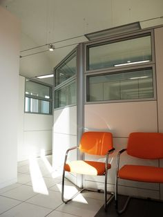 Wall Partitions Model ONE White and Glass - Chairs Model STAR Orange Fabric and Metal Structure