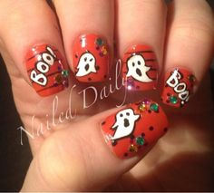 DIY Halloween Nails : Ghosts