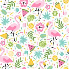 Seamless decorative pattern with flamingo, pineapple, lemons and green palm leaves on a white background. Vector illustration of a funny summer pattern. Flamingo Wallpaper, Animal Print Wallpaper, Kawaii Wallpaper, Motif Tropical, Tropical Pattern, Felt Hair Accessories, Flamingo Pattern, Flamingo Party, Pineapple Pattern