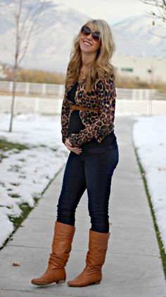 "leopard cardigan + cognac ""waist"" belt + black T + denim skinny jeans + cognac boots {great outfit pregnant or not works both ways cute} Winter Maternity Outfits, Pregnancy Outfits, Maternity Wear, Maternity Fashion, Winter Outfits, Maternity Styles, Maternity Swimwear, Pregnancy Clothes, Pregnancy Style"