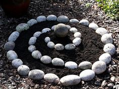 Spiral herb garden  (tutorial;  good photos of rock placement.  Love the big round rock in the centre.)
