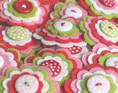 STRAWBERRY SHORTCAKE  - Set of 3 Handmade Felt Flower Embellishments in Pink, Red, Lime and White / Felt Applique