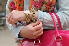 floral scarf, hot pink bag, chain link bracelete with watch