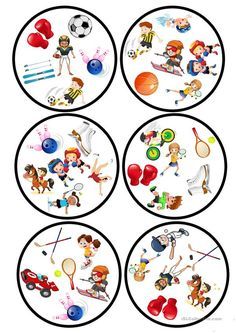 Sports Dobble game worksheet - Free ESL printable worksheets made by teachers Printable Worksheets, Printables, Teaching Nouns, Double Game, Sports Games, Matching Games, English Lessons, Math Games, In Kindergarten