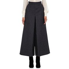 Saint Laurent Women's Pinstriped Culottes ($1,189) ❤ liked on Polyvore featuring pants, capris, grey, yves saint laurent, button pants, gray pinstripe pants, gray pants and grey pinstripe pants