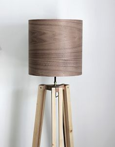DIY Wooden Tripod Lamp with Veneer Lampshade @themerrythought More