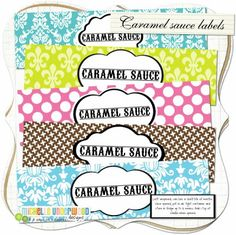 Caramel sauce labels _ lots of great colors for all occasions