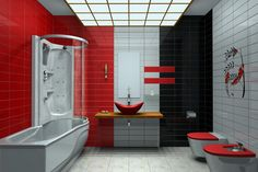 Bathroom Designs, Elegant Modern Red Bathroom Ideas With Awesome Shower Tub Accent And Well Design Ceiling: Elegant Latest Bathroom Designs