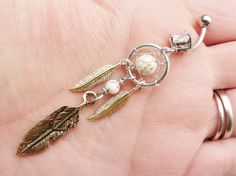 Tribal Dream Catcher Belly Button Jewelry Ring by MidnightsMojo, $24.00