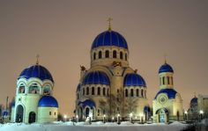 The Magic Blue Domes of Holy Trinity Church. Moscow, Russia.