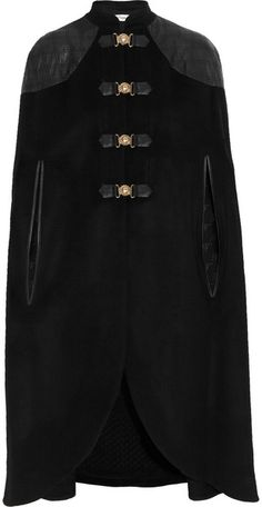 TEMPERLEY LONDON Avalon Leather trimmed Wool-blend Cape