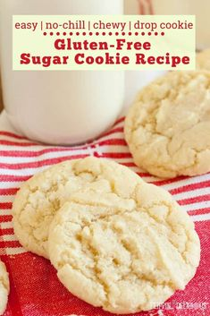 Gluten Free Drop Sugar Cookies Easy gluten free sugar cookies with no chilling or rolling required! Easy drop cookies that make perfectly chewy gluten free sugar cookies. Gluten Free Christmas Cookies, Gluten Free Sugar Cookies, Gluten Free Cookie Recipes, Gluten Free Sweets, Gluten Free Deserts Easy, Sugar Free, Celiac Recipes, Drop Sugar Cookie Recipe, Drop Sugar Cookies