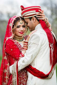Indian couple in red