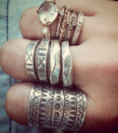 Boho chic silver rings, new Bohemian jewelry. For MORE modern hippie fashion trends FOLLOW http://www.pinterest.com/happygolicky/the-best-boho-chic-fashion-bohemian-jewelry-gypsy-/ now