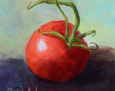Bodegón pintura comida arte dos tomates por OilPaintingsByCheri