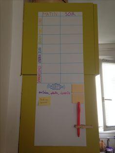 Pour les idées de repas : (j'explique le consepte) -mètres des idées en bas de la feuille ; -en choisir et les placer en haut devant le jour qui convient (et midi et soir)