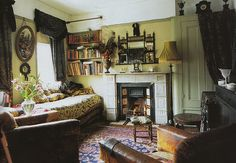 I saw this room in a copy of Cosmopolitan in 1992 and it's still pretty close to my ideal interior today. (This picture is apparently from World of Interiors a few years ago, though - I guess it hasn't changed much. Cozy Reading Rooms, Cozy Room, Reading Loft, World Of Interiors, Cottage Interiors, Cottage Living Rooms, Living Spaces, Cozy Living, Dorm Design
