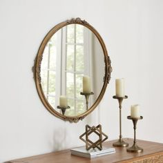 Entry Hall Large Round Mirror, Circular Mirror, Round Mirrors, Wall Mirrors Entryway, Living Room Mirrors, Mirror Bathroom, Foyer, Brass Mirror, Mirror Mirror