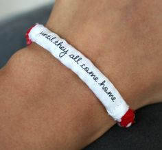 Red Friday Military Support Bracelet - Army, Marines, Air Force, Navy, Soldier Wife, Girlfriend, Fiance (women, teen girl). $9.00, via Etsy.