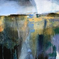 Merging Above and Below/ Abstract Landscape by Joan Fullerton Acrylic ~ 12 x 12