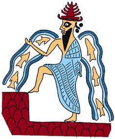 Enki/Ea- Babylonian myth: god of water, crafts, mischief, intelligence, and creation.