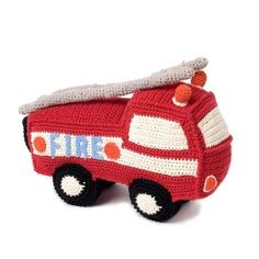Crocheted fire truck @Mama- the boys would love these!