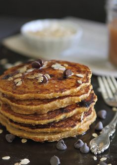 Sweet potato- oat chocolate chip pancakes | runningtothekitchen.com