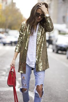 casual NYE look: gold sequin jacket + ripped jeans