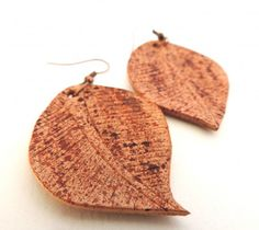 Natural Tan, Natural Leather, Leather Earrings, Leather Jewelry, Leaf Earrings, Crochet Earrings, Retail Therapy, Autumn Leaves, Dangles
