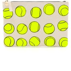 Clare V. Supreme Flat Clutch ($120) ❤ liked on Polyvore featuring bags, handbags, clutches, backgrounds, tennis, tennis print, canvas handbags, print purse, clare v clutches and canvas coin purse
