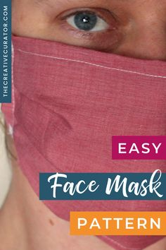 Looking for an easy face mask pattern to make DIY face masks with? This 5 step sewing tutorial will help sewing beginners create an easy, simple face mask in no time for themselves, friends and families. DIY face masks will be with us for a while, and this tutorial on how to make an easy face mask pattern works for anyone new to sewing. Easy Sewing Projects, Sewing Hacks, Sewing Tutorials, Sewing Patterns, Easy Face Masks, Diy Face Mask, Pattern Cutting, Pattern Making, Fabric Manipulation Techniques