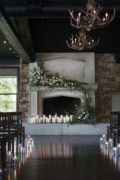 winter wedding ideas Romantic Mantel flowers with candles, The Lake House Wedding YYC by Foxglove St Lodge Wedding, Wedding Ceremony, Wedding Venues, Barn Weddings, Unique Weddings, Space Wedding, Dream Wedding, Wedding Day, Winter Wedding Venue