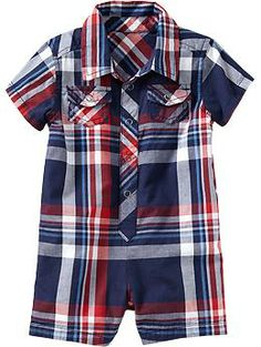 6-12 months Plaid Poplin Rompers for Baby | Old Navy $16.94