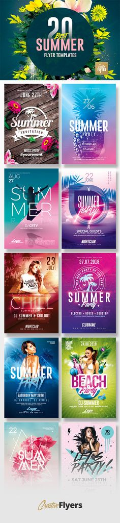 20 Summer Flyer Templates for this Season...Beautiful and Original summer flyer templates that you can use during the season. #summer #flyer #template #psd #creative #beach #party #photoshop #poster #affiche #nightclub