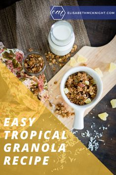 This homemade tropical granola is perfect for eating in a bowl with milk or snacking on the go! #homemadegranola #easybreakfast #simplydelicious Best Breakfast Recipes, Breakfast Time, Super Healthy Recipes, Best Appetizers, Recipe Of The Day, Granola, The Best, Milk, Tropical