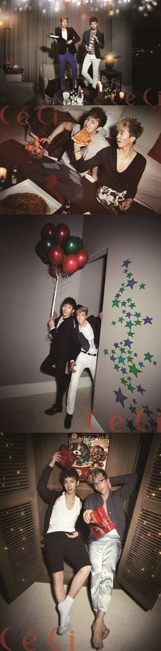 2AM's Jo Kwon and 2PM's Wooyoung throw a holiday party for two through 'CeCi's latest pictorial