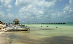 view down a riviera maya beach with a pier in the background