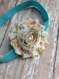 Orange and Turquoise Shabby Headband. Baby Headband. Shabby Headband. Baby Girl Headband on Etsy, $3.25