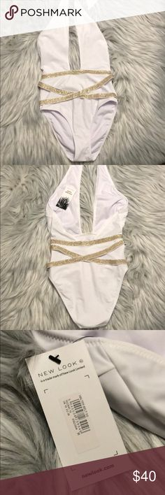 One piece swimsuit Sexy white and gold one piece swimsuit from ASOS Never worn. NWT ASOS Swim One Pieces
