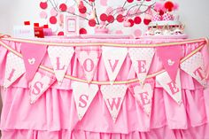 Pretty banner at a Valentine's Day Party!  See more party ideas at CatchMyParty.com!  #partyideas #valentine