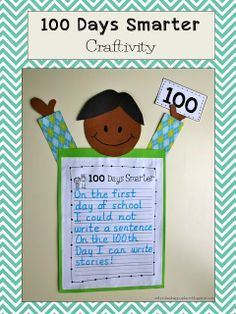 School Is a Happy Place: 100 Days Smarter FREE Craftivity-Writing or Spelling