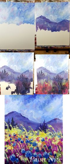 Mountain Garden Process: colors: Blue, Yellow, Red, White Brushes: Big flat, medium round