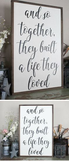And So Together They Built A Life They Loved Wood Sign, Framed Sign, Bedroom Wall Art, Couples Sign, Farmhouse Style Sign, Love Decor, Wedding shower gift, Rustic decor, Rustic sign, Farmhouse decor #ad #ArtAndCraftBedroom