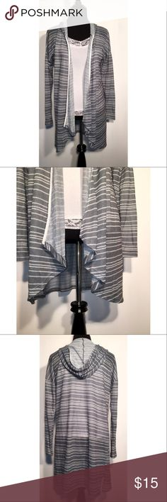 "❤🆒Medium Striped Knitted Cardigan ☾ Brand  | Design ☾ Size  |  Medium ☾ Color  |  Gray with white stripes ☾ Condition  |  New with tags ☾ Material  |  100% Polyester ☾ Features  |  Knitted, hooded, open front, asymmetrical hem   → Measurements      • Bust is 36""      • Waist is 33""      • Length is 32""  ✔ 1 to 2 day shipping ✔ Smoke free home ✖ No reserves ✖ No trades Design Sweaters Cardigans"